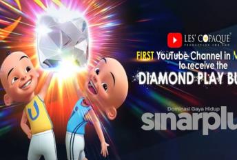 Upin & Ipin saluran Youtube pertama Malaysia cecah 10 juta pelanggan terima anugerah Diamond