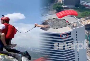 [VIDEO] Cabaran maut! Gila kering terjun macam tu.. dah macam main PUBG!
