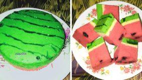 Resipi kek tembikai manis, lembut dan gebu tapi tak berjus