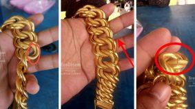 Barang kemas nilai RM20k, tapi luaran sahaja emas, dalamnya besi! Jangan sampai tertipu…